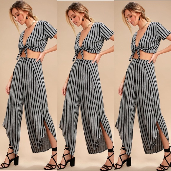 962daba7caaa Lulu's Other | Lulus Two Piece Gray And Black Striped Jumpsuit ...